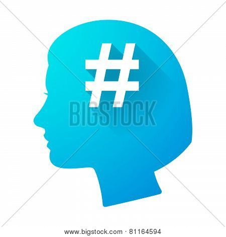 Woman Head Icon With A Hash Tag