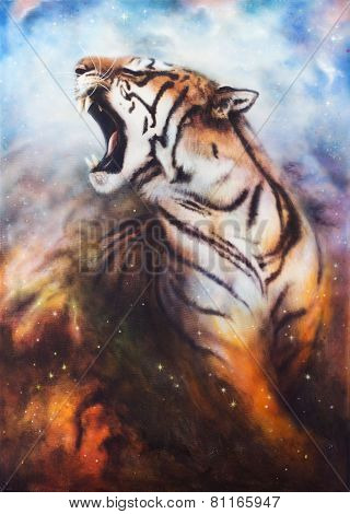 Cats Tiger On A Abstract Cosmical Background