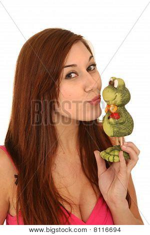 Beautiful Woman Kissing Frog