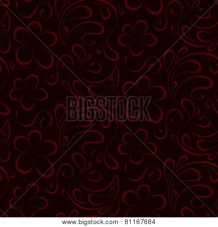 Floral Seamless Background. Red Pattern To Burgundy Background