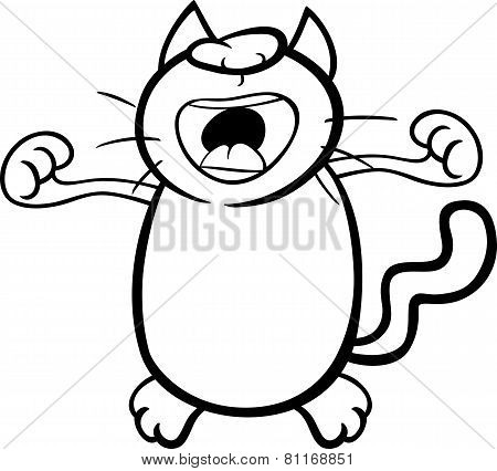 Wake Up Cat Coloring Page
