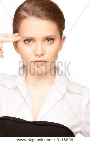 Woman Showing Suicide Gesture