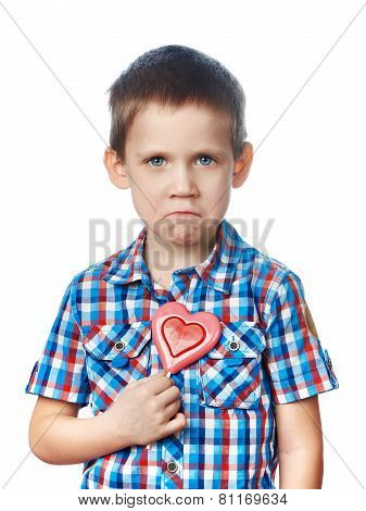 Funny Dissatisfied Boy With Lollipop Hearts