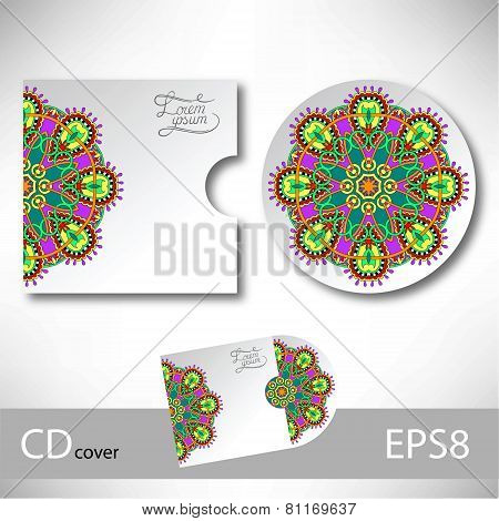 CD cover design template with ukrainian ethnic style