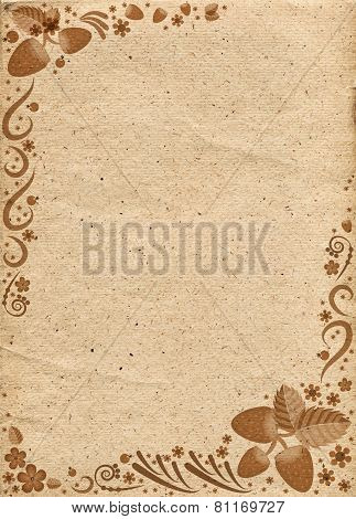 Beige Paper With Pattern From Elements Of Russian Khokhloma