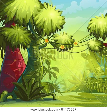 Illustration sunny morning in the jungle