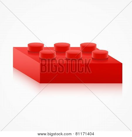 Isometric colorful plastic building block.