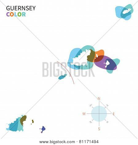 Abstract vector color map of Guernsey with transparent paint effect.