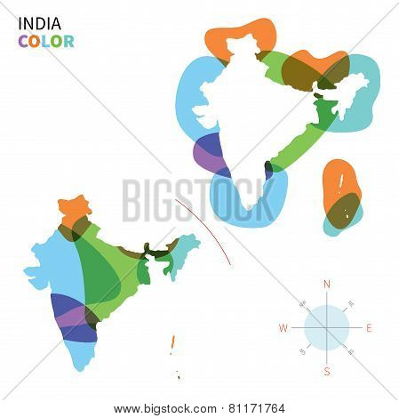 Abstract vector color map of India with transparent paint effect.