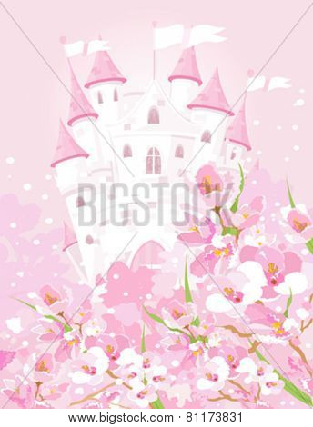 Illustration of fairytale castle