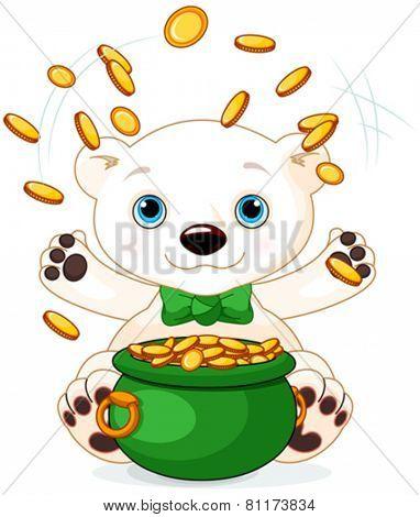 Polar Bear juggles gold coins at Saint Patrick Day