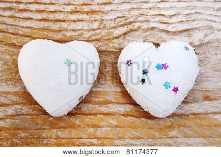 Valentines Day - Hearts On Wooden Background