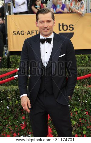 LOS ANGELES - JAN 25:  Nikolaj Coster-Waldau at the 2015 Screen Actor Guild Awards at the Shrine Auditorium on January 25, 2015 in Los Angeles, CA
