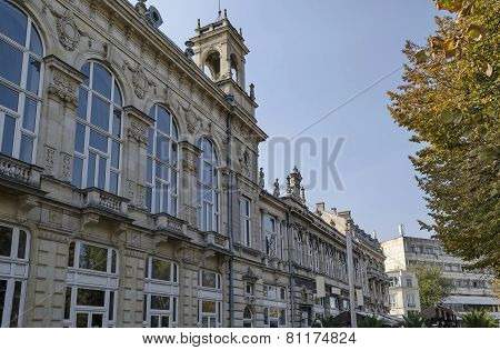 Ancient building with rich decoration in center of Ruse town, Bulgaria    from 1897 year