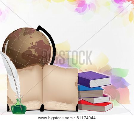 Globe, Book And Feather