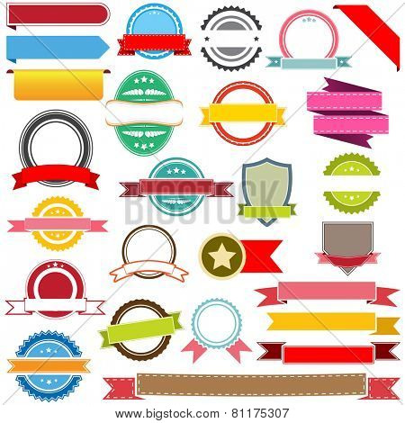 Set of vector ribbons, labels, banners and emblems. Design elements.