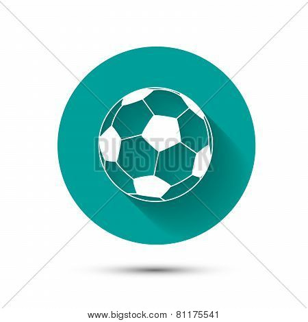 Football icon on green background with shadow