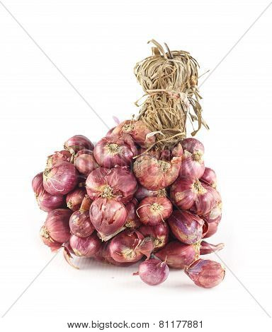 Bunch Of Fresh Shallots On White