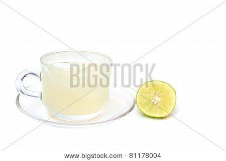 lemon water on white background