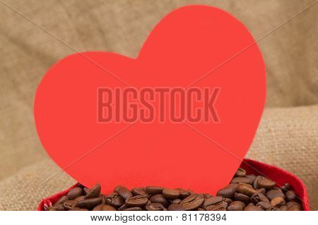 Red Heart In The Sac With Coffe Beans
