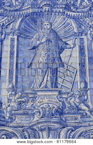 Exterior detail of the Saint Lawrence of Rome church in Almancil, Portugal.