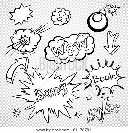Blank Comic Speech Bubbles Set, Comic Wording Sound Set