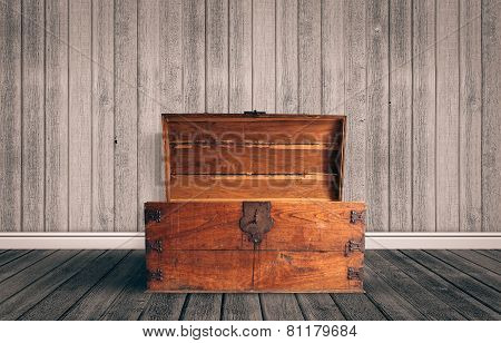 Chest In Wood On The Floor