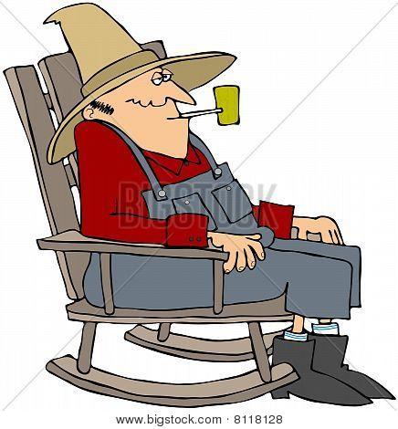 Alter Mann in einen Schaukelstuhl