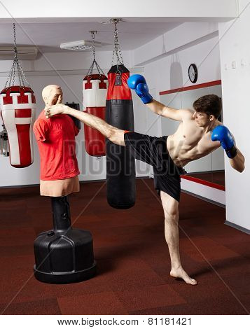 Kickboxer Training In The Gym