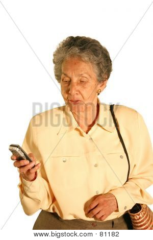 Eldery Woman Texting