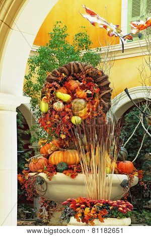 LAS VEGAS, USA - SEPTEMBER 29, 2009: Beautifully decorated lobby luxury hotel. Celebration of harvest: baskets and vases with colorful gourds, flowers and autumn leaves