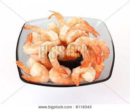 Serving of Shrimp with Cocktail Sauce