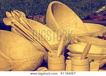 Vintage Look At One Group Of Wood Objects, Traditional Romanian