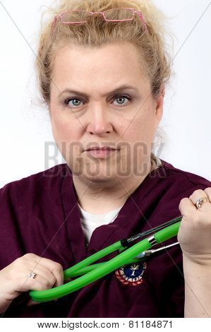 Nurse with a scowl