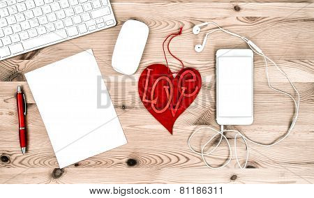 Office Workplace With Stationary And Office Supplies. Valentines Day