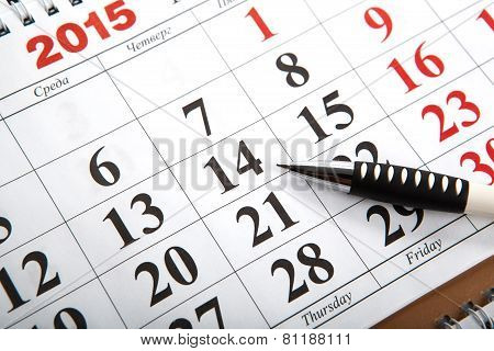 Wall Calendars With Pen Laid On The Table