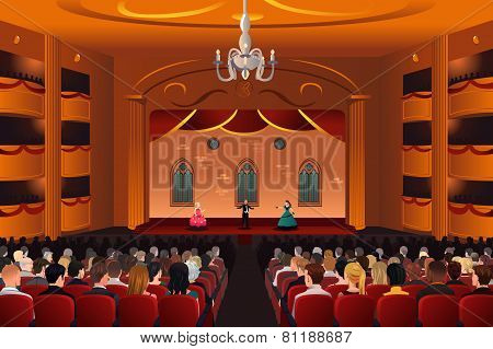 Spectators Inside A Theater