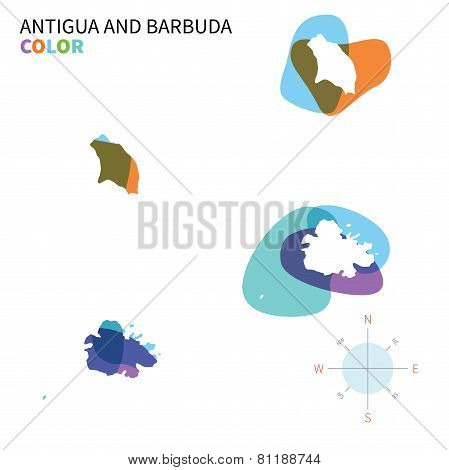 Abstract vector color map of Antigua and Barbuda with transparent paint effect.