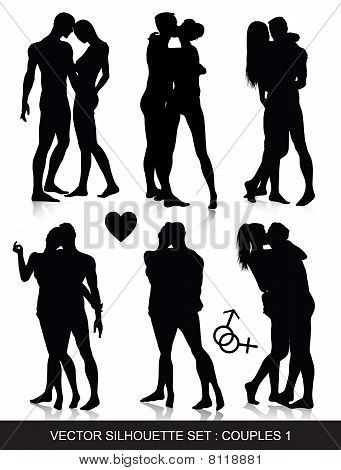 Couple Silhouettes Set