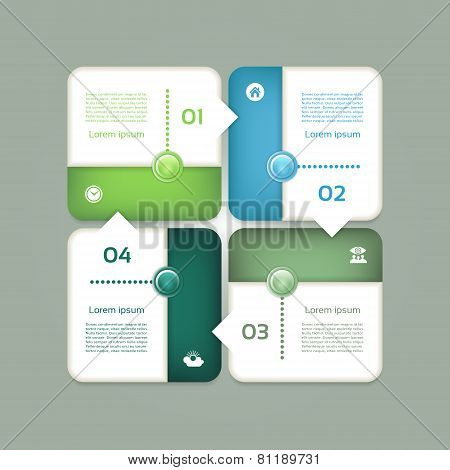 Vector cyclic diagram with four steps and icons in blue and green color. eps 10