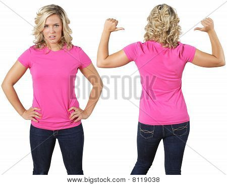 Female With Blank Pink Shirt