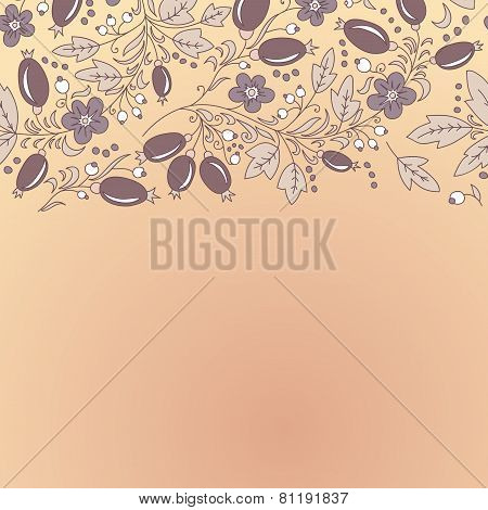 Barberry Border, Hand-drawn Berry Pattern.