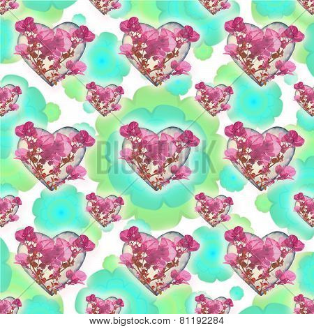 Heart Shapes With Flowers Motif Pattern