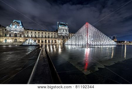 Night View Of The Louvre Museum With Crystal Pyramid