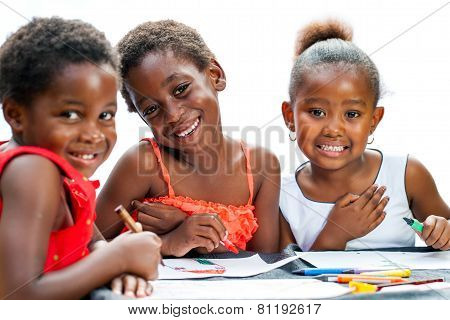 Cute Threesome African Girls Drawing Together.