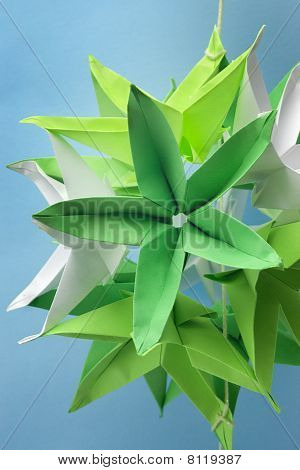 Closeup Of Big Star Shape Green Origami