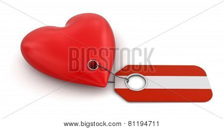 Heart with Austrian flag (clipping path included)