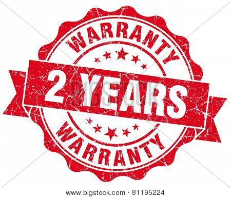 2 Years Warranty Red Vintage Isolated Seal
