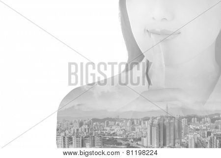 double exposure of silent sign with gesture by business woman