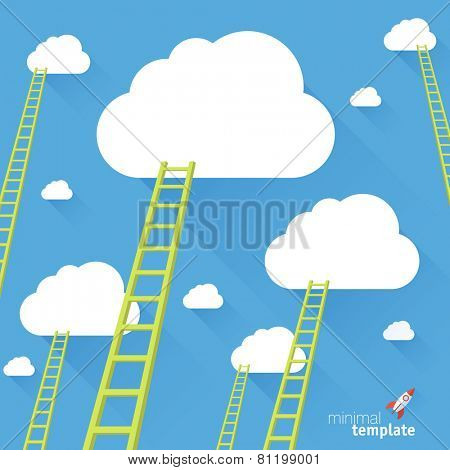 Ladder to the sky. Vector minimalist design competition concept.
